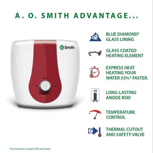 A.O.Smith HSE-SGS-006 Storage 6 Litre Vertical Water Heater White Body RedPanel 5 Star